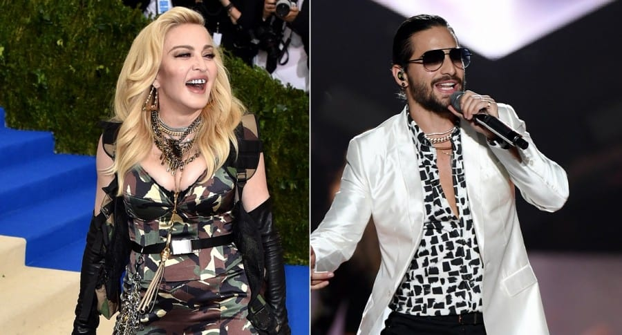 Madonna y Maluma, cantantes.