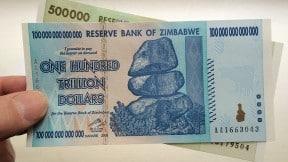 Billete de 100 billones de dólares de Zimbabue