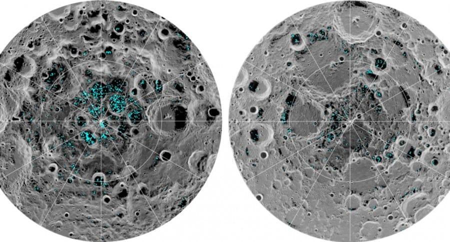 Zonas de hielo en la Luna