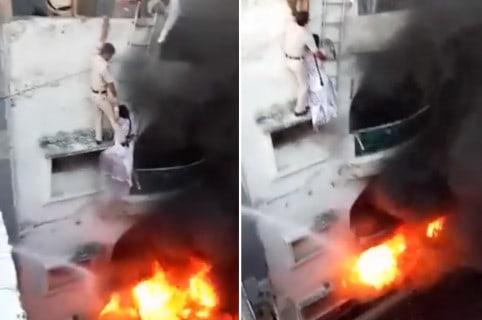 Rescate de incendio en India