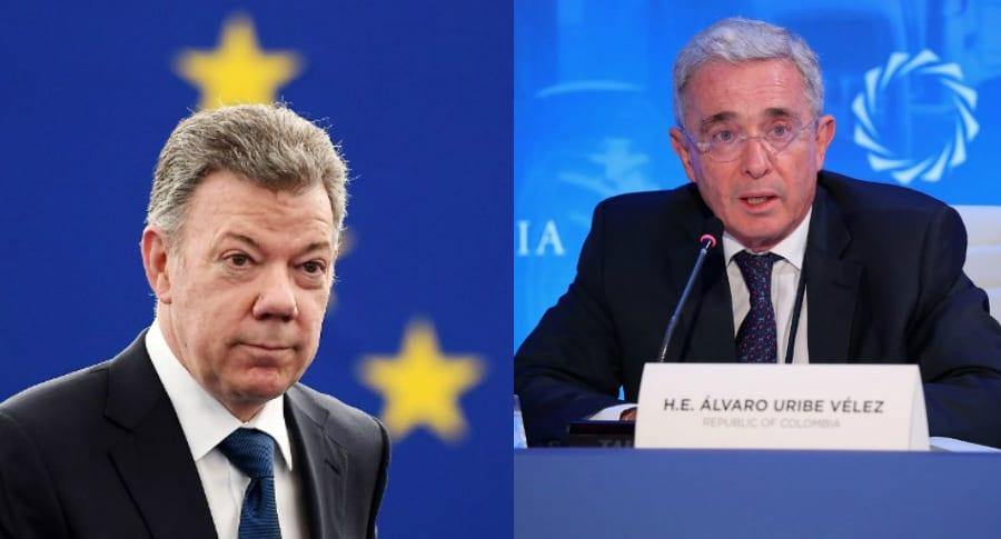 Juan Manuel Santos y Álvaro Uribe