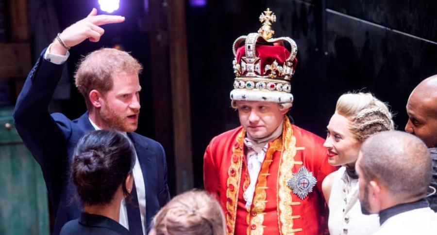 Príncipe Harry con el elenco de la obra 'Hamilton''