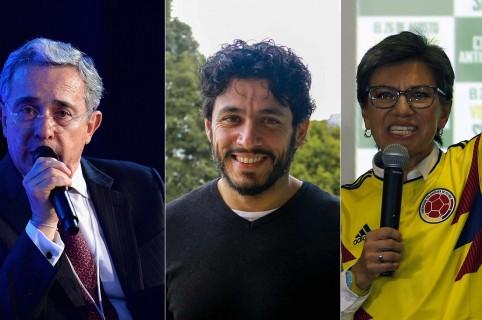 Álvaro Uribe, expresidente; Santiago Alarcón, actor; y Claudia López, exsenadora.