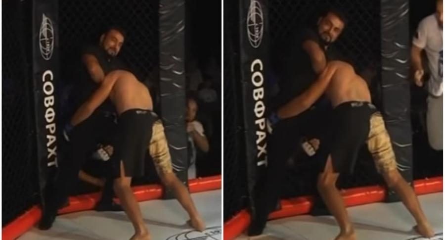 Árbitro noquea a luchador.