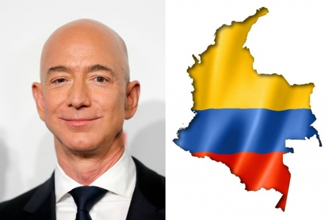 Collage Jeff Bezos y Mapa de Colombia