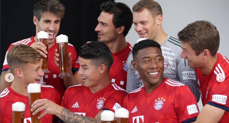 Brindis entre los jugadores del Bayern Múnich