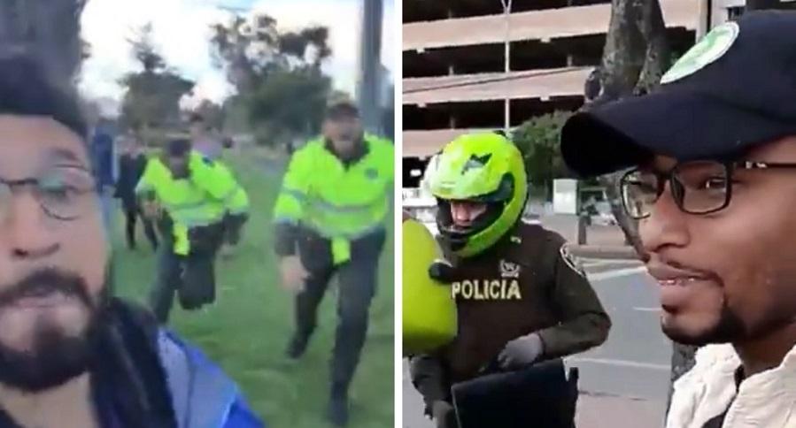Hombre agradeciendo a policías