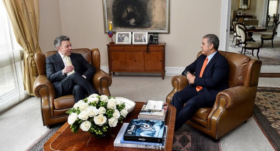 Juan Manuel Santos e Iván Duque