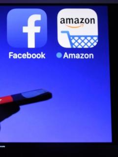 Íconos de los GAFA: Google, Apple, Facebook y Amazon