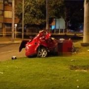 Carro en el que ocurrió el trágico accidente