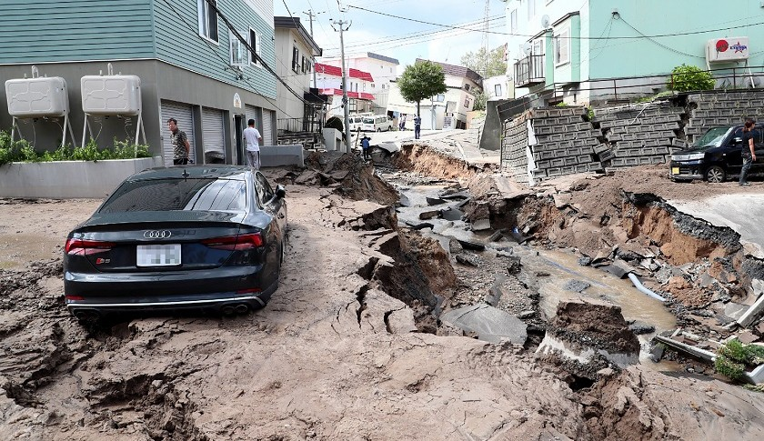 Una vía destruida en Hokkaido
