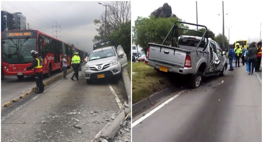 Accidente de camioneta en Autopista Norte.