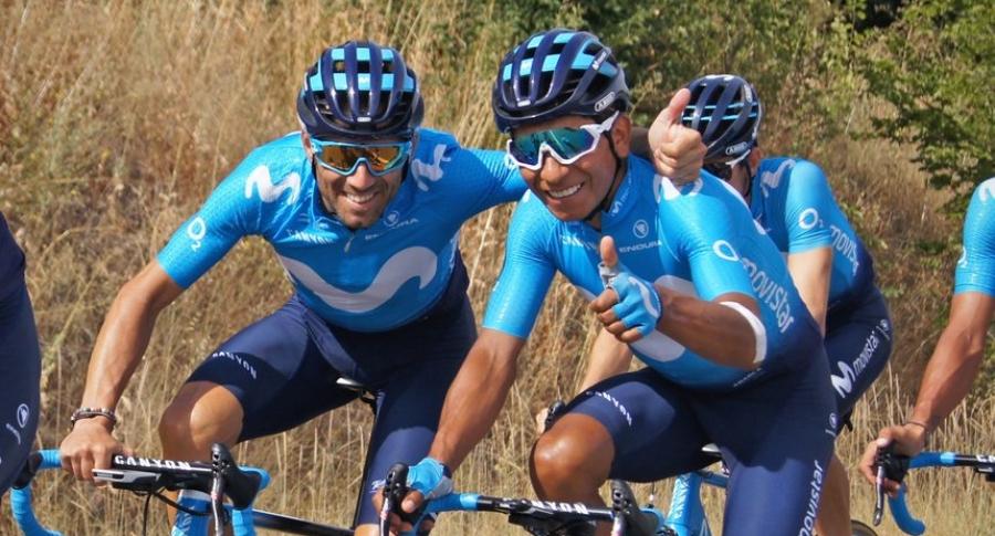 Nario Quintana junto a Alejandro Valverde