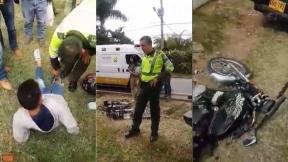 Policías arrollaron a motociclista