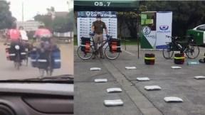 Ciclistas y droga decomisada