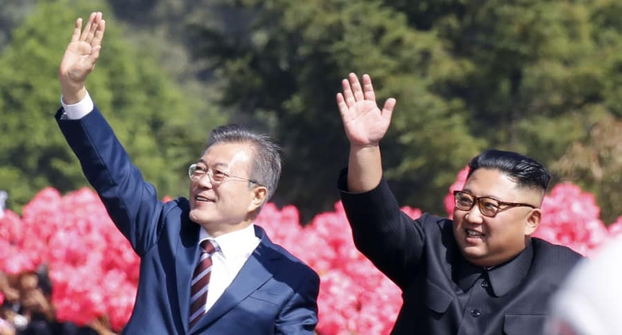 Moon Jae-in y Kim Jong-un, en Pionyang