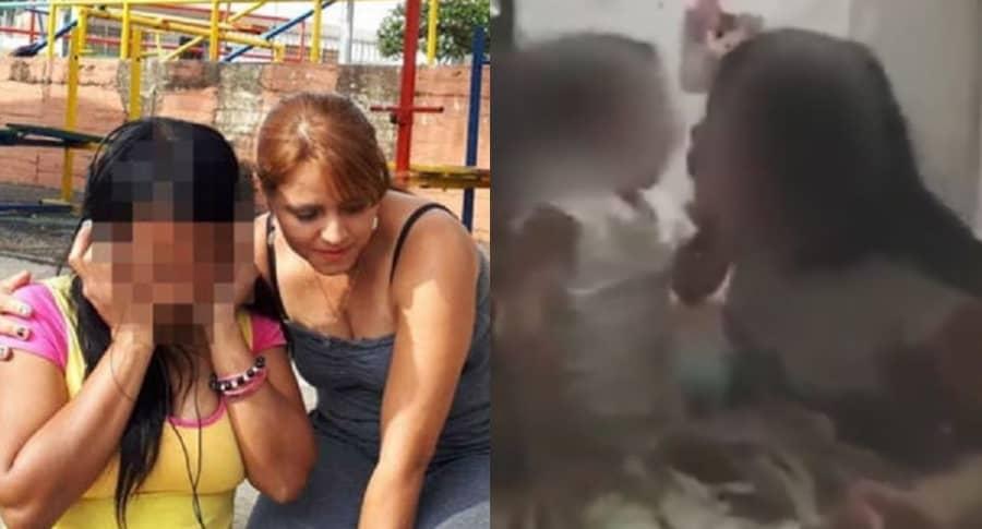 Érika Charapúa, mamá de la niña; Elena, niñas fumando marihuana