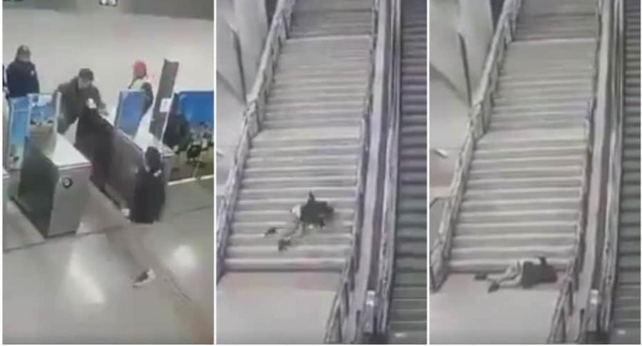 Joven cae por unas escaleras.