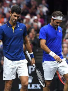 Djokovic Federer vs Anderson Sock