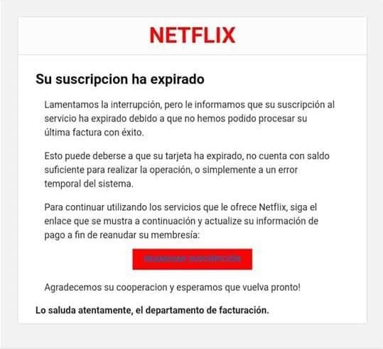 Correo falso Netflix