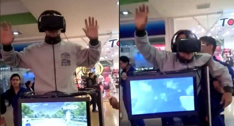 Hombre en juego de realidad virtual