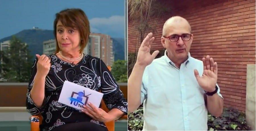 Consuelo Cepeda, defensora del televidente de RCN, y Jota Mario Valencia, presentador.
