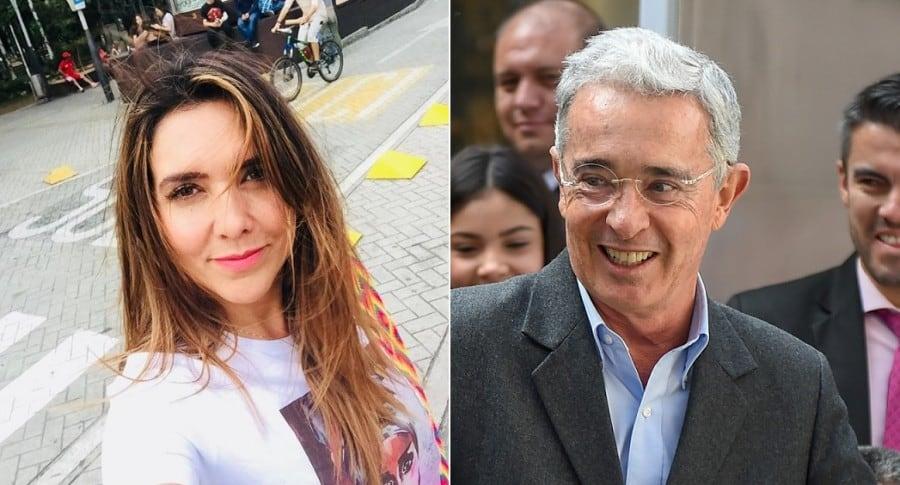 Mónica Rodríguez, presentadora, y Álvaro Uribe Vélez, expresidente y senador.