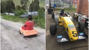 Niño conoce un autódromo.