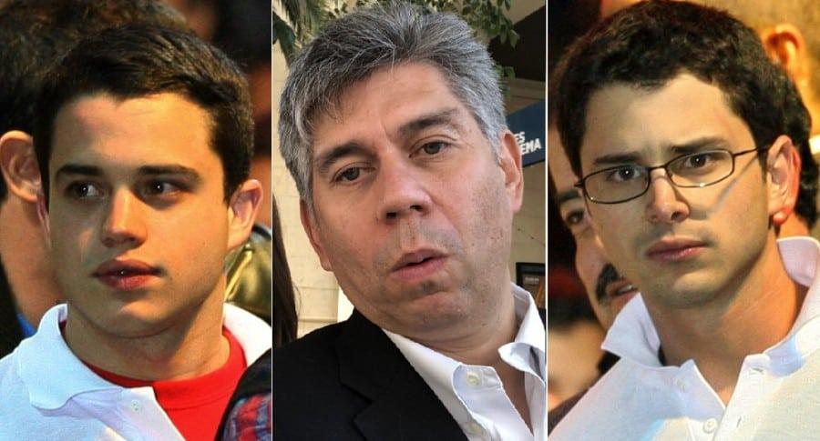 Jerónimo y Tomás Uribe, empresarios; y Daniel Coronel, periodista.
