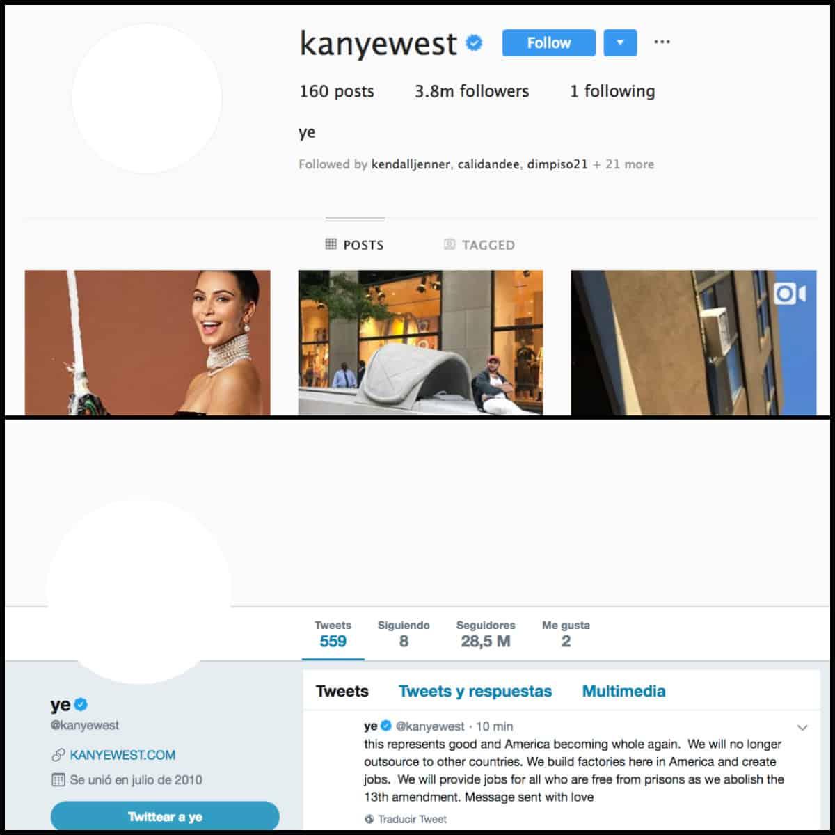 KANYE WEST instagram y twitter