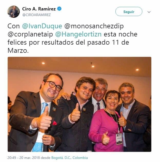 Ciro Ramírez, Guillermo Sánchez, Claudia Ortiz e Iván Duque