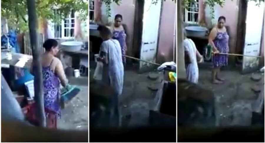 Mujer golpea a su mamá con un palo.