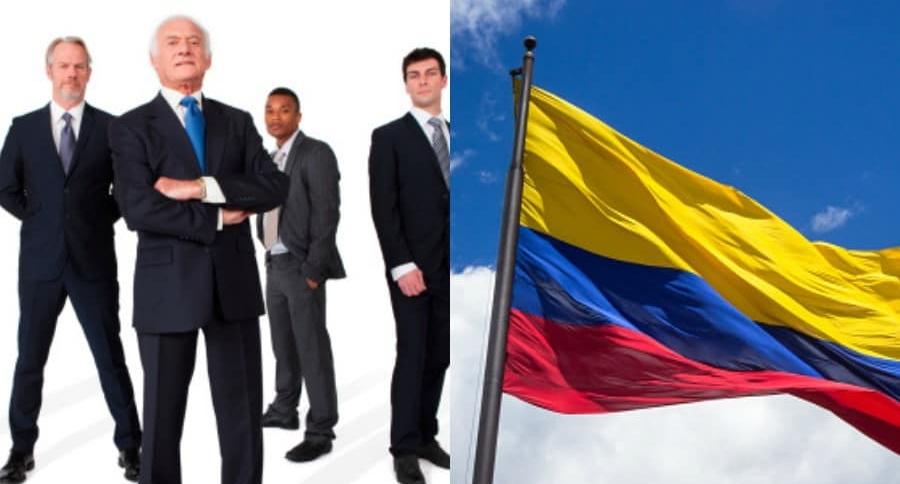 Empresarios y bandera de Colombia