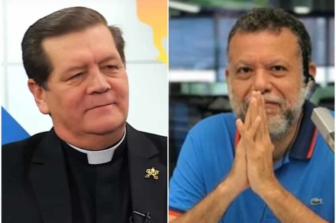 Monseñor Alirio López y padre Linero