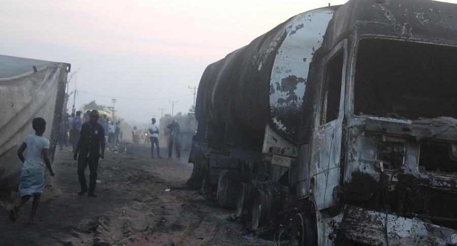 Camión cisterna que explotó en accidente