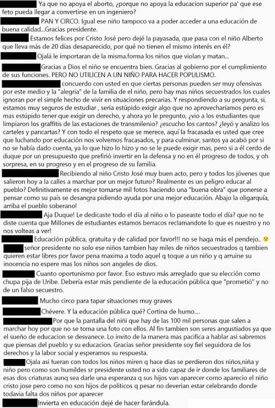 Comentarios Instagram Duque