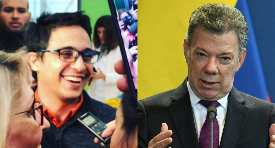 Lorent Saleh y Juan Manuel Santos