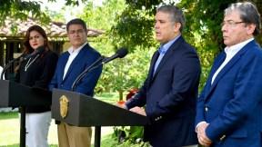 Iván Duque y  Juan Orlando Hernández