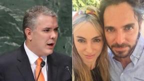 Iván Duque, presidente de Colombia, y Valeria Santos con su esposo, el actor Manolo Cardona.