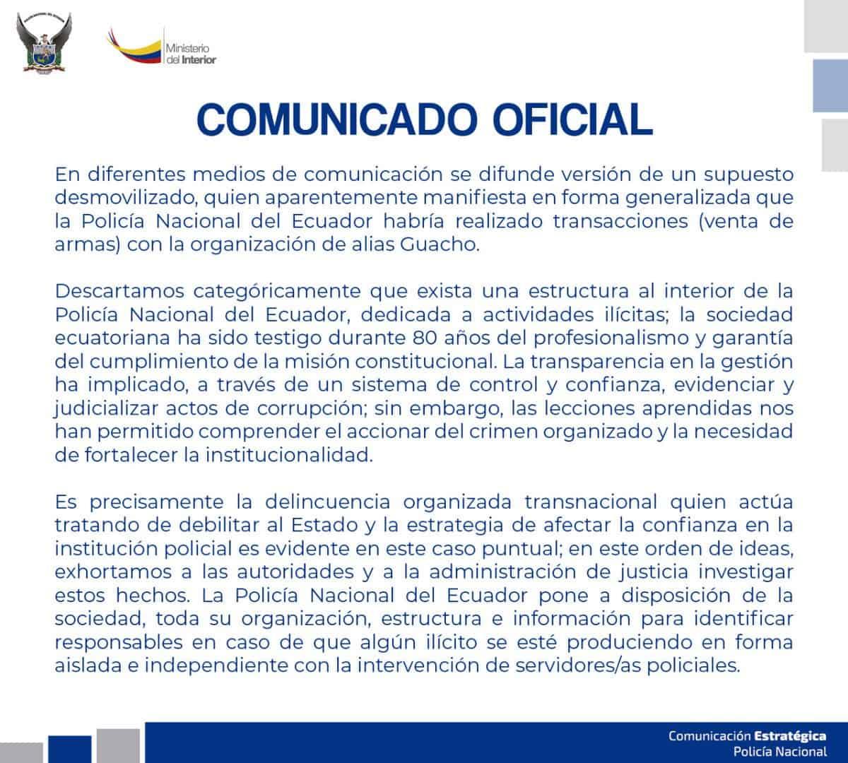 Comunicado Policía de Ecuador