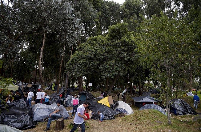 Campamento venezolanos en El Salitre, Bogotá
