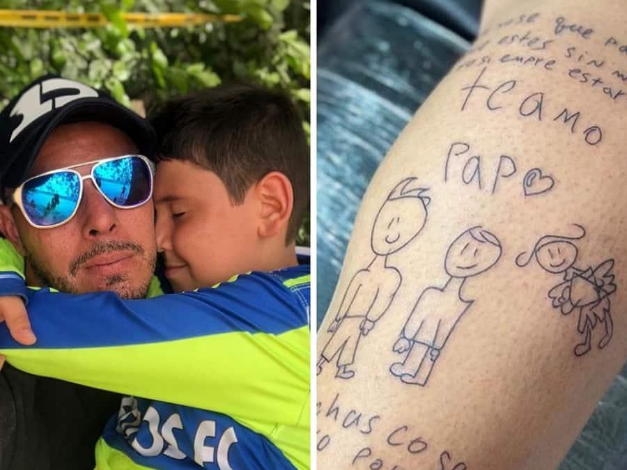Luis Delgado Se Tatuo Dibujo Que Hizo Su Hijo Por Muerte De Su Esposa