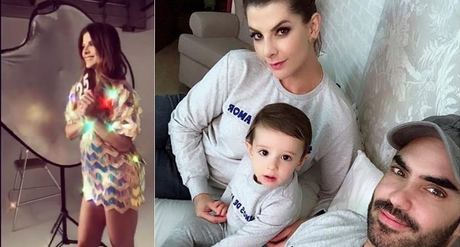 Carolina Cruz, presentadora, con su pareja, el actor Lincoln Palomeque, y su hijo Matías.