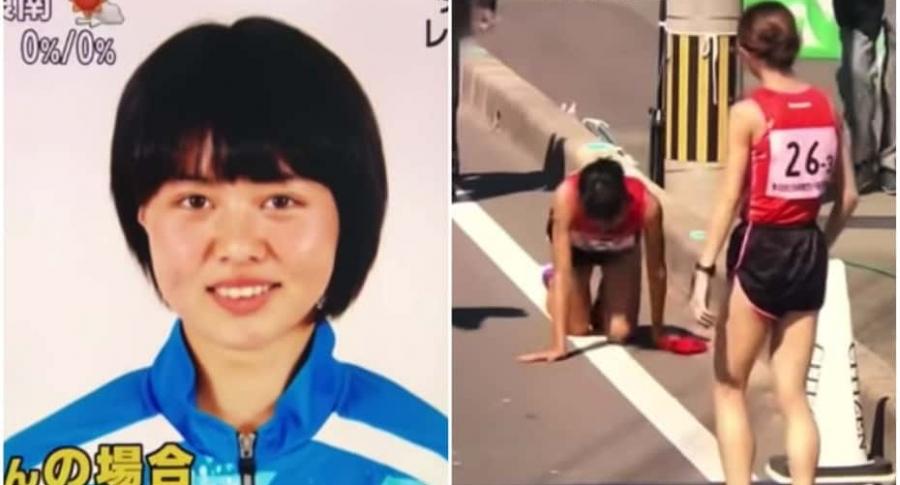 Atleta termina carrera gateando.