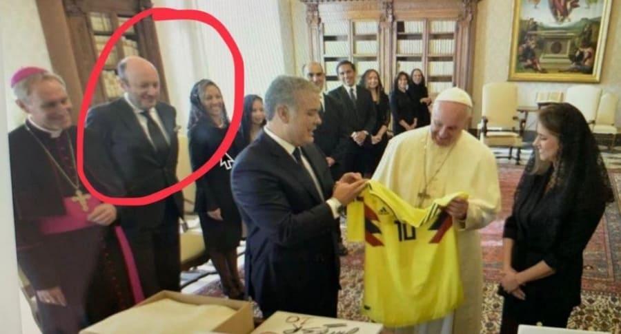 Julio Sánchez Cristo en la visita al papa Francisco