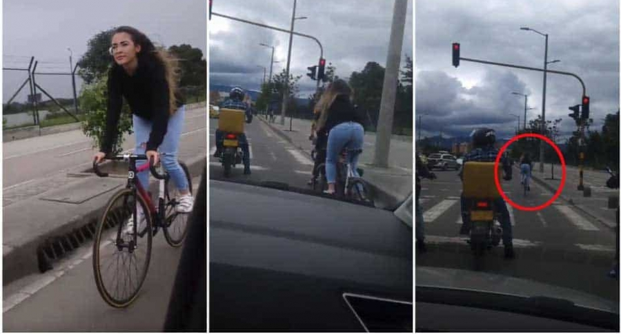 Ciclista se pasa semáforo en rojo.
