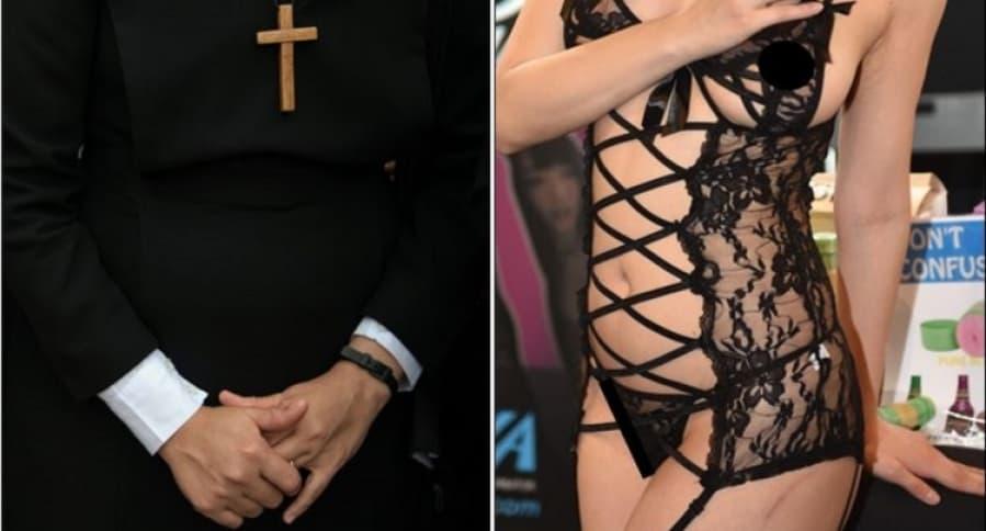 Mujer con hábito frente a mujer con ropa interior