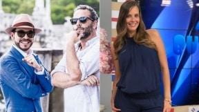 Abelardo de la Espriella, abogado, con Jose Gaviria, productor; y Laura Acuña, presentadora.