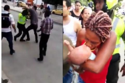 Agresión a policías en Valledupar