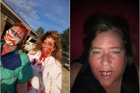 Mujer disfrazada de zombi.
